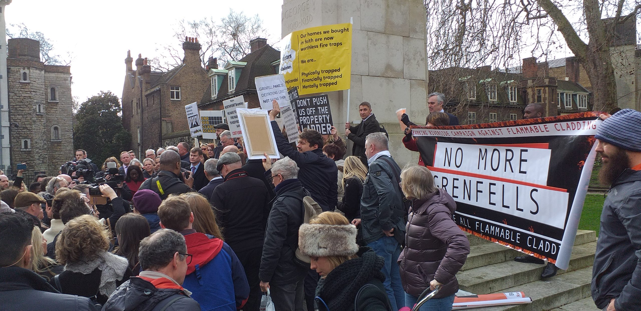 London and Manchester residents associations protest against flammable cladding outside parliament