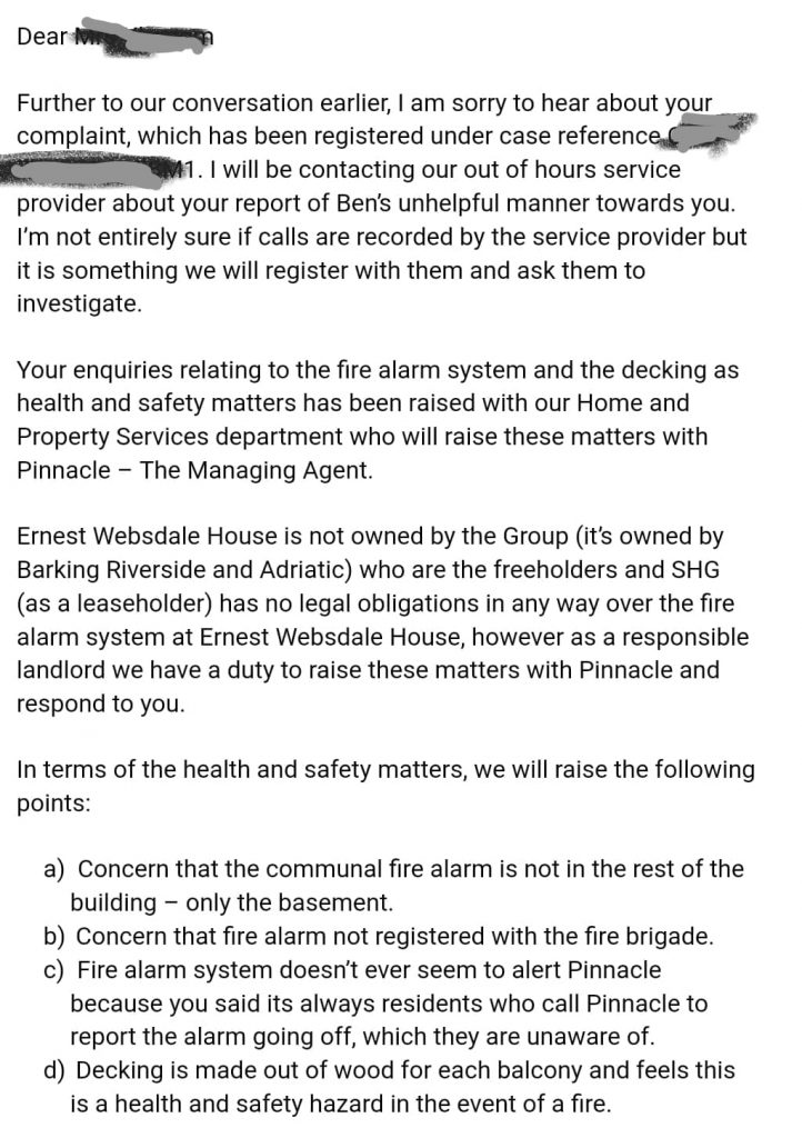 Southern housing summarises the concerns