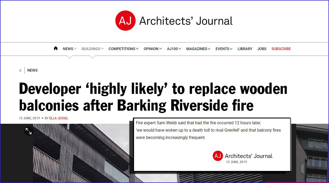 """Architects Journal: """"Fire expert Sam Webb said that had the fire occurred 12 hours later, 'we would have woken up to a death toll to rival Grenfell'"""