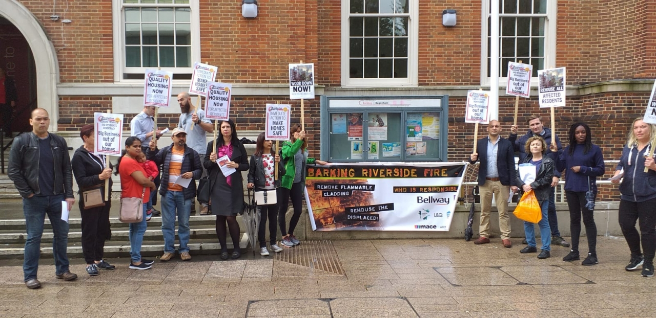 Samuel Garside House residents and residents Association protesting outside the town hall